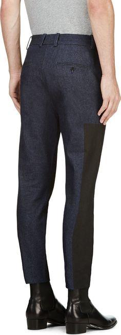 3.1 Phillip Lim: Black & Blue Paneled Denim Trousers   SSENSE