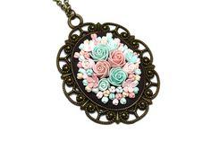 Floral pendant necklace  Filigree  Floral Pendant  by KittenUmka