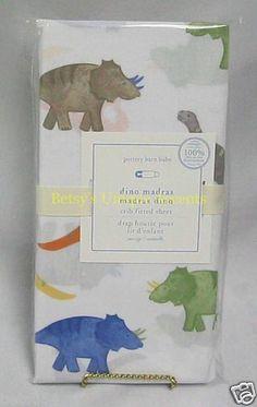Pottery Barn Baby Kids Dino Madras Crib or Toddler Bed Sheet Bright Dinosaurs