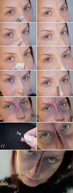 halloween-stapled-nose-makeup-hacks-how-to