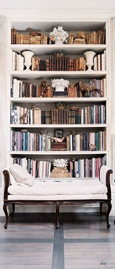 French Colonial Traditional Vintage Bookshelf- I like the bookshelf with the accessories, but the sofa is not my style . home Vintage Bookshelf Photos Vintage Bookshelf, Modern Bookcase, Vintage Library, Bookshelf Styling, Bookshelf Ideas, Bedroom Bookshelf, Bookshelf Decorating, Bookcase Wall, Home Libraries