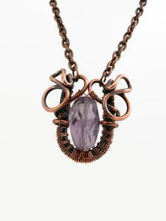 Amethyst Bead wrapped in Copper