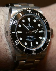 "A modern Rolex Submariner ""No Date"" Ref. Luxury Watches, Rolex Watches, Watches For Men, Rolex Submariner No Date, Rolex Datejust, Men's Collection, Vintage Watches, Gold Watch, Omega Watch"
