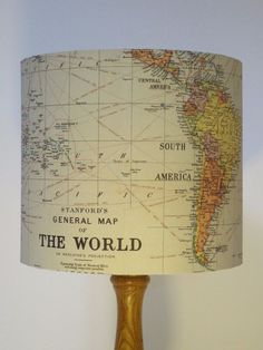 Light up your life with this vintage map-covered lampshade. | 21 Things Every Travel Addict Needs In Their Apartment Immediately