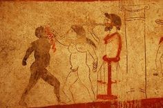Greek pankrationists. From a tomb at Paestum, ca 470 BC