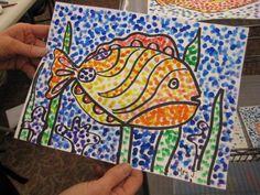 Teach Kids Art  pointillism fish