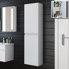 Tall bathroom cabinets are your perfect bathroom space saver! From white, grey, walnut, oak & yellow, find the perfect tall bathroom storage cabinet for you. Tall Bathroom Storage Cabinet, Wall Mounted Bathroom Cabinets, White Bathroom Cabinets, Wall Storage, Storage Cabinets, Storage Ideas, Storage Units, Tall Cabinets, Storage Hacks