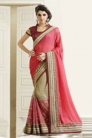 Faux Georgette and Net Half N Half Saree In Pink and Beige Colour