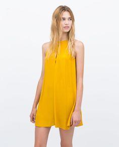 FLOUNCE DRESS (curry yellow sleeveless halter 3658/010) $49.90 | Zara