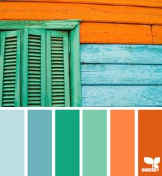 Light blue, Caribbean blue, emerald green, sea green, orange, bright orange
