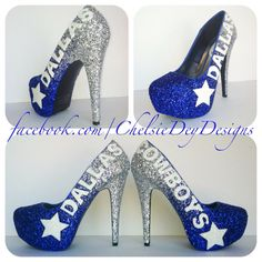 Dallas Cowboys Faded Glitter High Heels by ChelsieDeyDesigns Dallas Cowboys Shoes, Dallas Cowboys Football, Football Team, Muses Shoes, Cowboy Shoes, How Bout Them Cowboys, Cute Heels, Sexy Heels, Platform Pumps