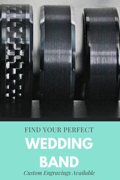 Black tungsten wedding bands that you'll love. Custom engravings available. Black Tungsten Rings, Tungsten Wedding Rings, Custom Engraving, Perfect Wedding, Wedding Bands, Jewels, Jewerly, Gemstones, Wedding Band