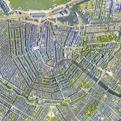 Amsterdam 90° from above. Amazing city planning.