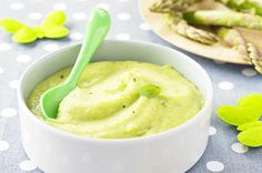 Green asparagus purée with basil  #Babymoov #Nutribaby #Recipe #Babyfood #Homemade