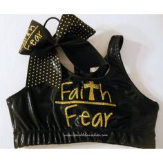 Faith Over Fear Metallic Sports Bra and Bow Set Cheerleading Gold ($35) ❤ liked on Polyvore featuring activewear, sports bras, cheer, red, women's clothing, gold sports bra, athletic sportswear, metallic gold sports bra, red sports bra and metallic sports bra