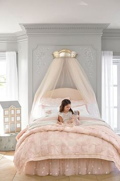 The Monique Lhuillier for Pottery Barn Kids Collection Just Launched (And It's… Girls Bedroom Decor Big Girl Bedrooms, Little Girl Rooms, Girls Princess Bedroom, Toddler Princess Room, Princess Room Decor, Bedroom Girls, Princess Theme, Little Girls Room Decorating Ideas Toddler, Ballerina Bedroom
