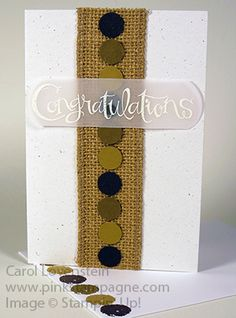 Masculine Congratulations - Burlap & Embossing! June Card Class (4 of 5) Card Idea Designed by Carol Lovenstein - Stampin' Up!