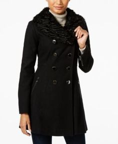 Guess Faux-Fur-Collar Double-Breasted Walker Coat - Black XXL