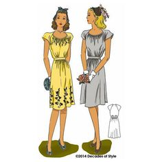46a87a2d82f 1940s Dorothy Lara Dress from WW II era -  4013 – Decades of Style Pattern