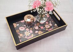 Decorative Ottoman Tray Fascinating Navy Floral Coffee Table Tray  Wooden Ottoman Tray  Table Tray Decorating Inspiration