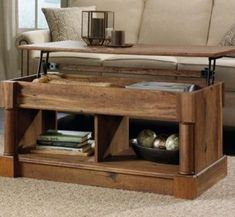 The Greatest Lift-Top Coffee Tables Lift Up Coffee Table, Storage Ottoman Coffee Table, Coffee Table Design, Coffee Tables, Rustic Furniture, Living Room Furniture, Living Room Decor, Interior Design Career, Interior Design Living Room