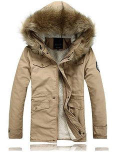 Hot Sell Men's Winter Coat Zip Hood Jacket Faux Fur Warm Parka Coats Long Trench | eBay