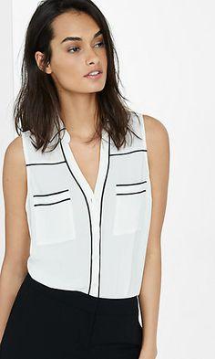 original fit piped sleeveless portofino shirt