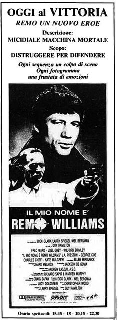 """Il mio nome è Remo Williams"" (Remo Williams: The Adventure Begins, 1985) di Guy Hamilton, con Fred Ward e Joel Grey. Italian release: March 14, 1986 #RemoWilliams #30AnniDiRemoWilliams #MoviePosters"