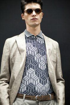 Portside gets a bohemian, geometric update at Giorgio Armani SS15, Milan menswear. More images here: http://www.dazeddigital.com/fashion/article/20510/1/giorgio-armani-ss15