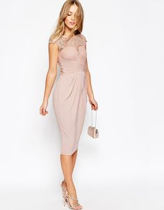 Image 4 of ASOS WEDDING Lace Top Pleated Midi Dress