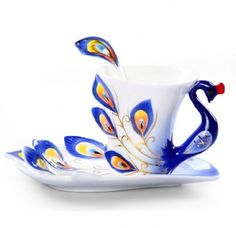 Moyishi Hand Crafted Porcelain Enamel Delicate Peacock Tea Coffee Cup Set with Saucer and Spoon Blue - I love this!