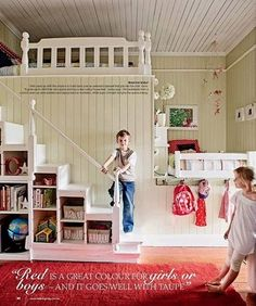 Awesome Loft Beds--Since you won't have a window on the one end of your upstairs, this could be a fun idea for the kids area.  Not necessarily a bed, but a 'loft' on top of a 'hide-out' area---or something.  The bookshelf stairs are a neat idea too.
