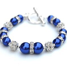 blue jewelry | Sparkling Cobalt Blue Pearl Bracelet, Bling Jewelry, Party Accessory ...