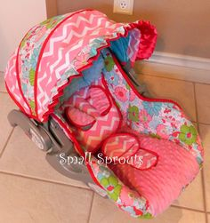 Custom Boutique Baby Trend Flex loc Spring Floral /pink minky infant Car Seat Cover-Ready To Ship by smallsproutsbaby on Etsy