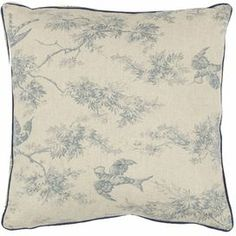 """Linen-cotton pillow with a toile motif in blue.     Product: Set of 2 pillowsConstruction Material: Linen and cotton blend cove and fiber fillColor: Blue and ivoryFeatures: Inserts includedDimensions: 18"""" x 18"""" eachCleaning and Care: Dry cleaning recommended"""