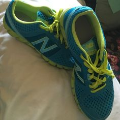LIKE NEW New Balance Shoes A fun teal and citron combination. Great for walking or light activity. They have only been work once. There is slight color on the soles where they were worn once. Cool mesh around the shoe. These have a lot of life left in them, they were just a little too big for me. New Balance Shoes Athletic Shoes