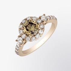 Brown diamond and diamond ring
