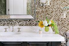 Wallpaper in bathroom with beautiful flowers