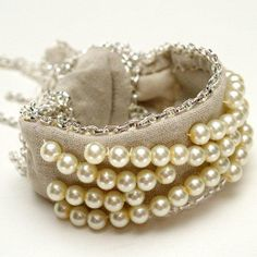 Pearl and Chains Fabric Bracelet   AllFreeJewelryMaking.com
