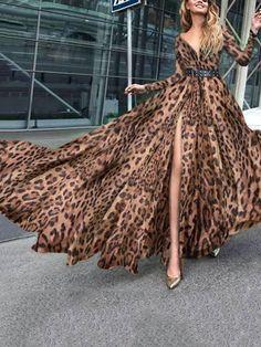Leopard Print V-Neck Dress – Gorahouse Sexy Dresses, Fashion Dresses, Long Dresses, Looks Party, Animal Print Fashion, Leopard Fashion, Animal Print Dresses, Fashion Seasons, Latest Fashion For Women