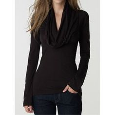 Stylish Drapped Collar Long Sleeve Solid Color T-Shirt For Women