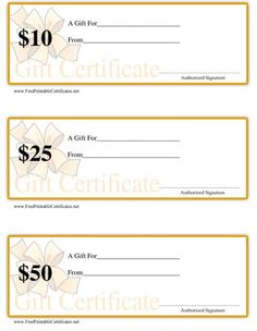 This Set Of Three Printable Gift Certificates Are Ideal For Retail Or  Service Oriented Businesses  Gift Certificates Templates Free Printable