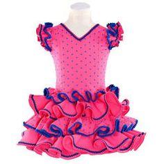 Traje de gitana para niña batista rosa lunar bordado