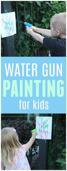 Water Gun Painting- Simple Summer Activity for Kids Inspired by Rainbow Fish