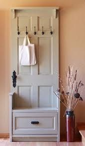 Turn an old door into this fantastic Entry Bench with Storage Drawer. It's an easy DIY and will look great at your place! Door Entry Bench Tutorial via 'The Friendly Home' Door Bench via 'I G Custom Woodworking' Door … Decor, Home Diy, Doors Repurposed, Furniture Projects, Hall Tree, Furniture, Upcycled Furniture, Repurposed Furniture, Home Decor