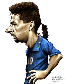 Roberto Baggio (USA 1994) - World Cup caricatures by Gonza Rodriguez, via Behance