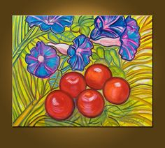 SALE  Morning Glories and Tomatoes  16 x 20 inch by ElizabethGraf, $79.00