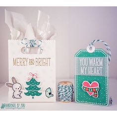 "I'm a Guest Designer over on the Trendy Twine  Blog this weekend ! For today's post I have a cute gift bag and tag featuring their ""Tickled with Teal"" Trendy Twine 