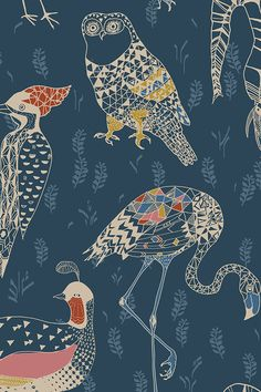 Geo Birds design on fabric wallpaper or gift wrap by nouveau_bohemian. Blue, red, mauve, and mustard animal drawings owls, flamingos and peacocks on fabric, wallpaper, and gift wrap.