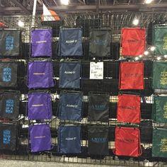 Drawstring backpacks display at Phoenix Comicon